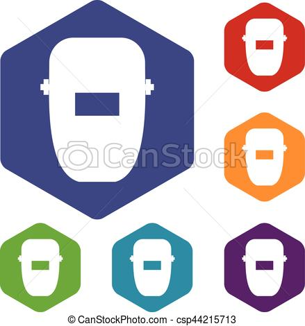 439x470 Welding Mask Icons Set Rhombus In Different Colors Isolated