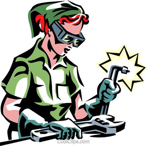 480x479 Woman Welding Royalty Free Vector Clip Art Illustration Vc061389