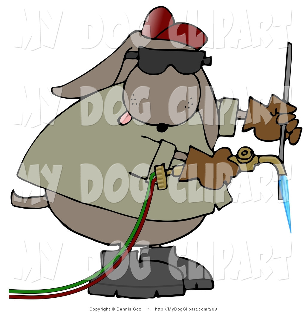 1024x1044 Clip Art Of An Industrial Brown Dog Welding And Wearing Shades By