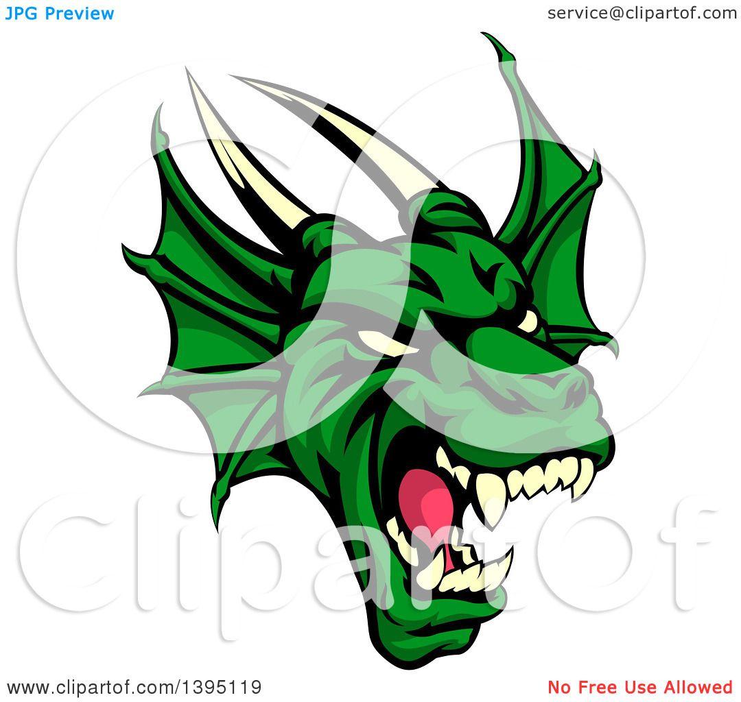 1080x1024 Clipart Of A Demonic Roaring Green Dragon Head