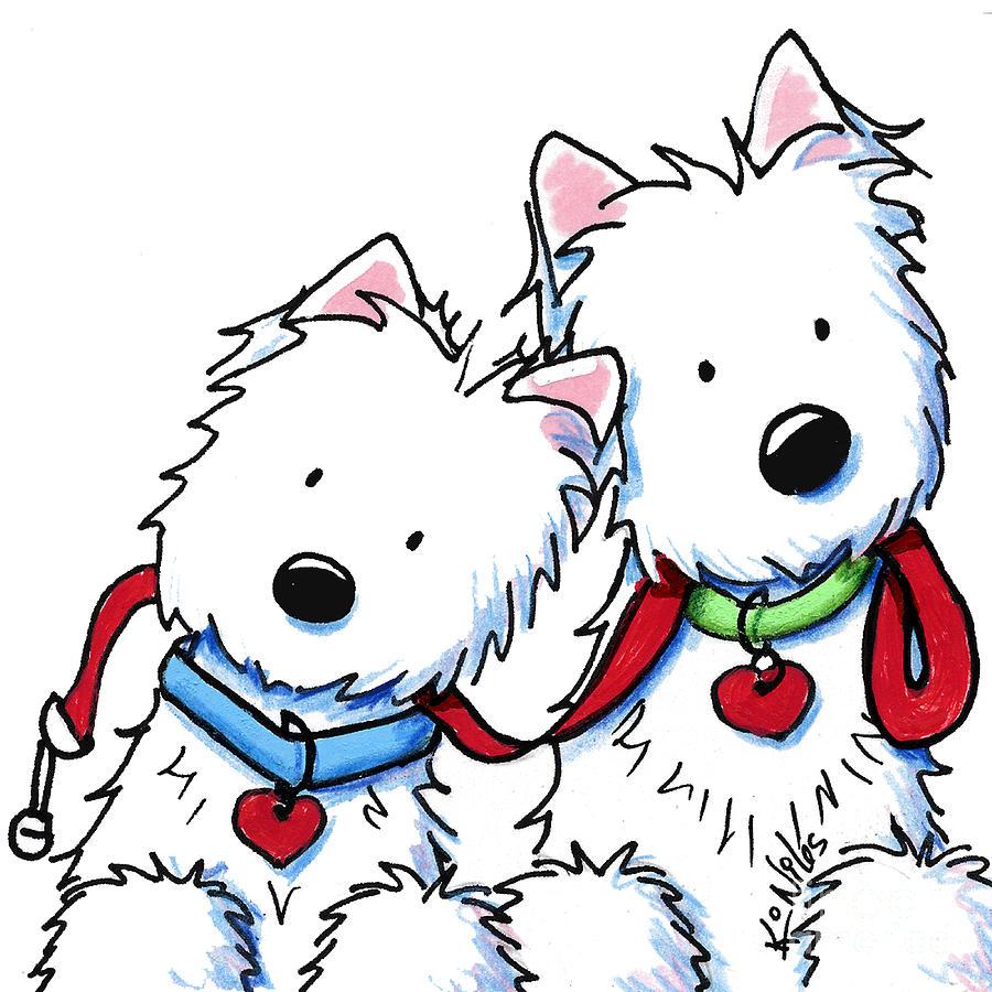 900x900 Westie Dog Park Duo Drawing By Kim Niles