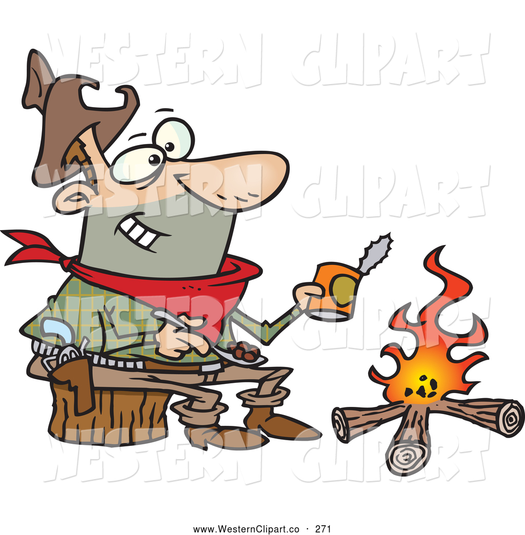 1024x1044 Vector Clip Art Of A Cartoon Happy Cowboy Baking Beans Over A Camp