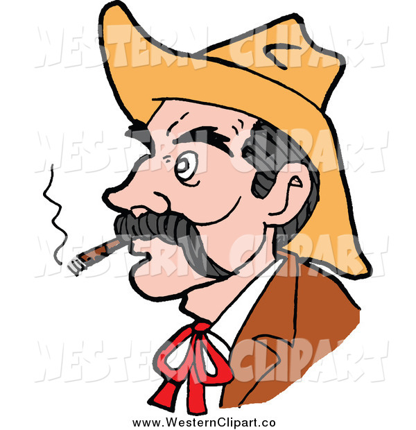 600x620 Vector Clip Art Of A Western Cowboy Smoking A Cigar And Facing