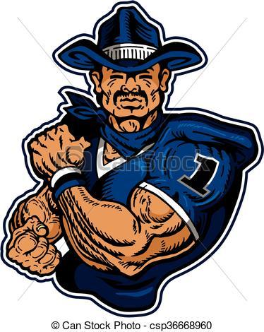 374x470 Western Cowboy Football Player. Western Cowboy Football Team