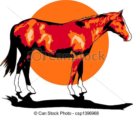 450x393 Horse Clip Art. Horse Standing In Front Of A Western Sunset Clip Art.