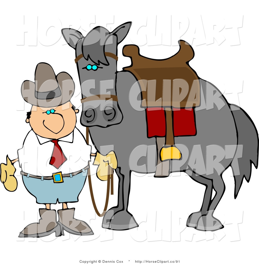1024x1044 Clip Art Of A Cowboy By His Saddled Horse By Djart