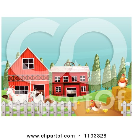 450x470 Clipart Of A Windmill, Barn And Hay Stacks On A Farm