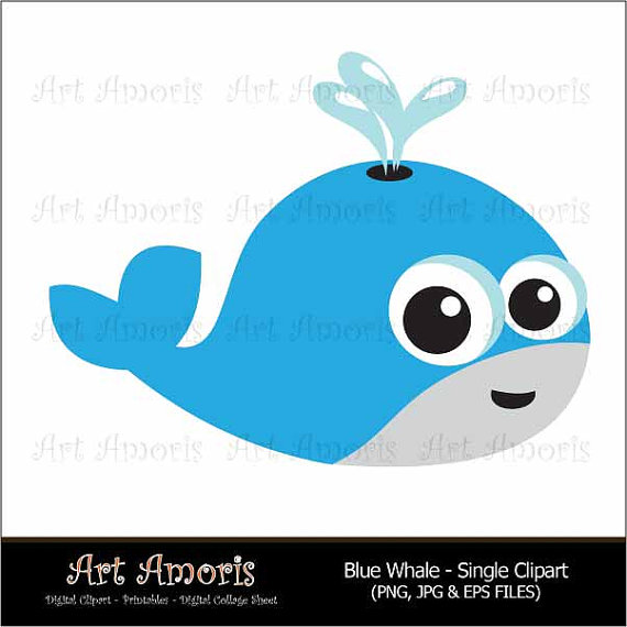 570x570 Blue Whale, Fish, Orca, Digital Clip Art, Clipart