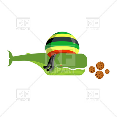 400x400 Whale In Rasta Hat And Dreadlocks, Cookies Royalty Free Vector