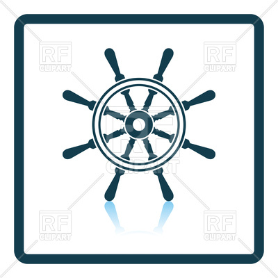 400x400 Shadow Reflection Design Icon Of Steering Wheel Royalty Free