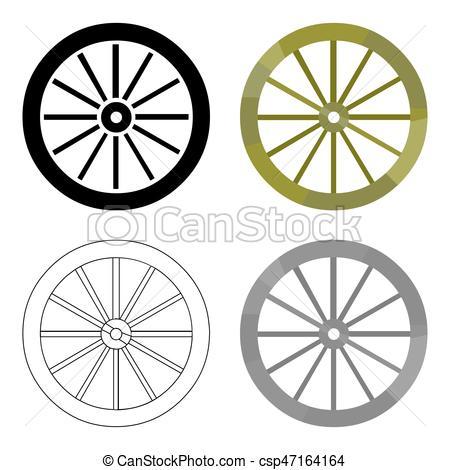 450x470 Cart Wheel Icon Cartoon. Singe Western Icon From The Wild Clip