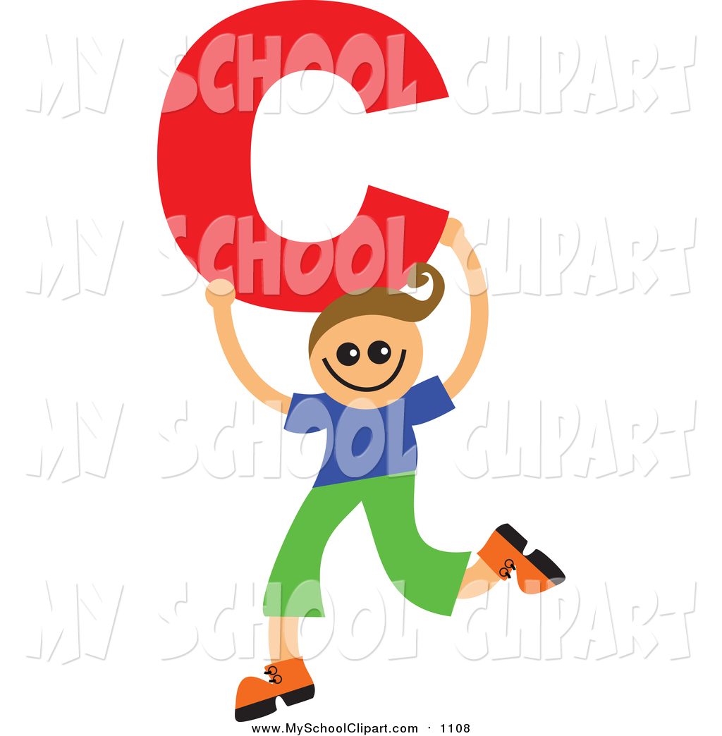 1024x1044 Clip Art Of A Happy White Boy Holding A Letter C By Prawny
