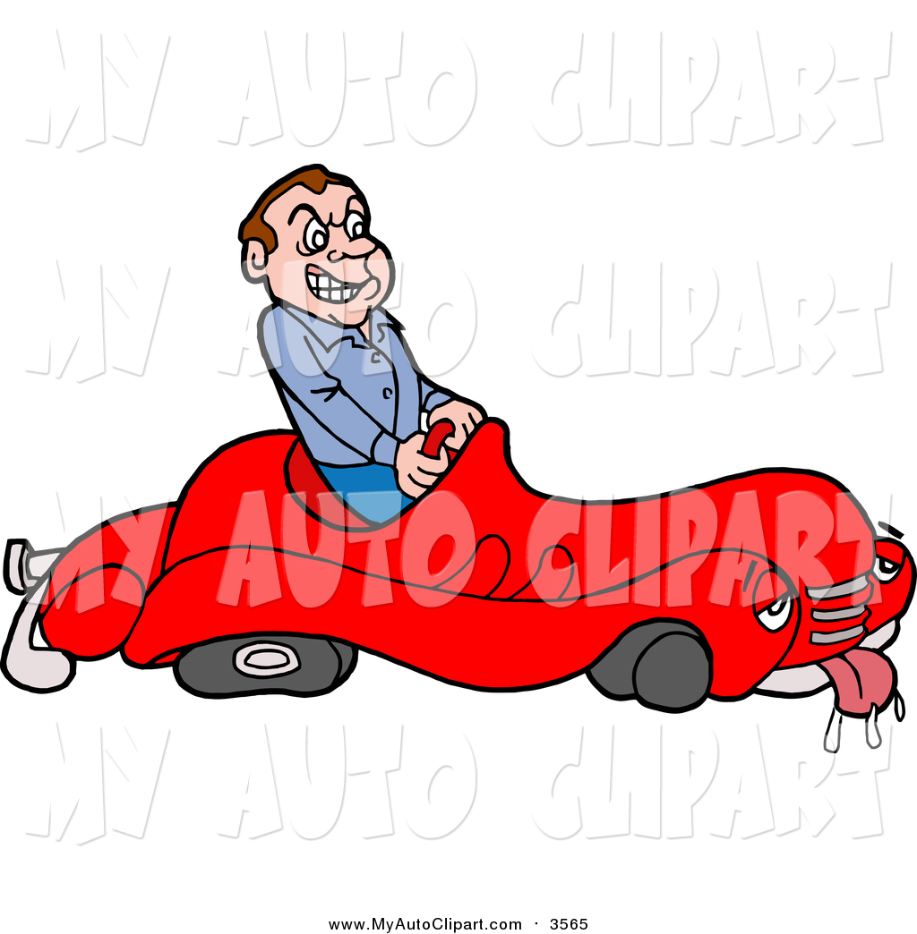 1024x1044 Clip Art Of A Mad White Male Driver In A Sick Broken Down Car By