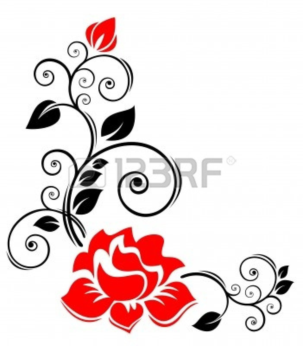 1053x1200 Knumathise Rose Clip Art Black And White Border Images Outstanding