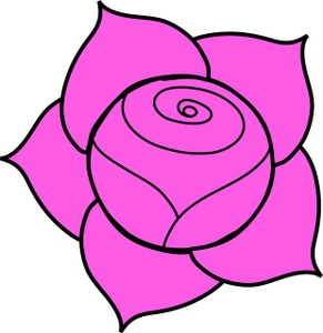 291x300 Purple Rose Clipart Black And White