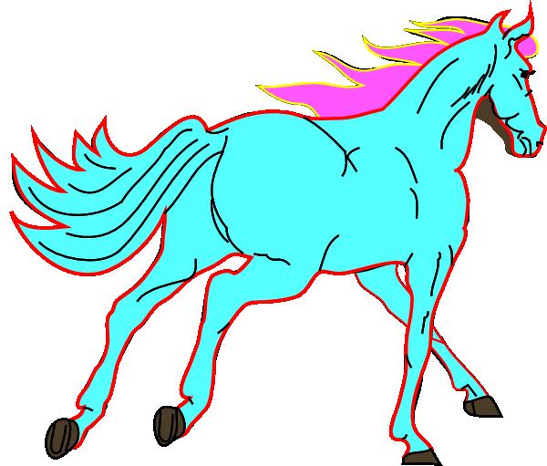600x511 Horse Blue Clip Art