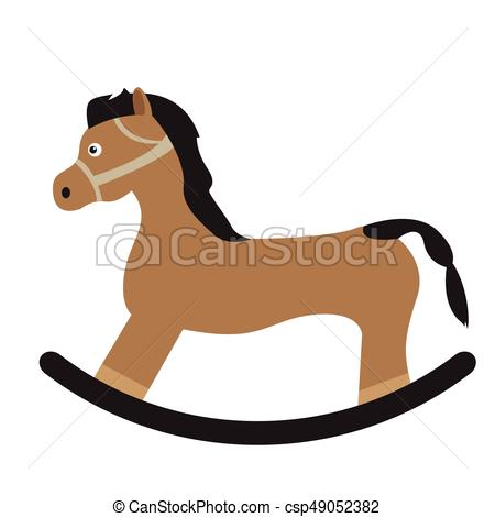450x470 Isolated Wooden Horse On A White Background, Vector Vector