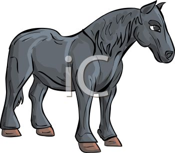 350x307 Picture Of A Horse Standing On A White Background In A Vector Clip