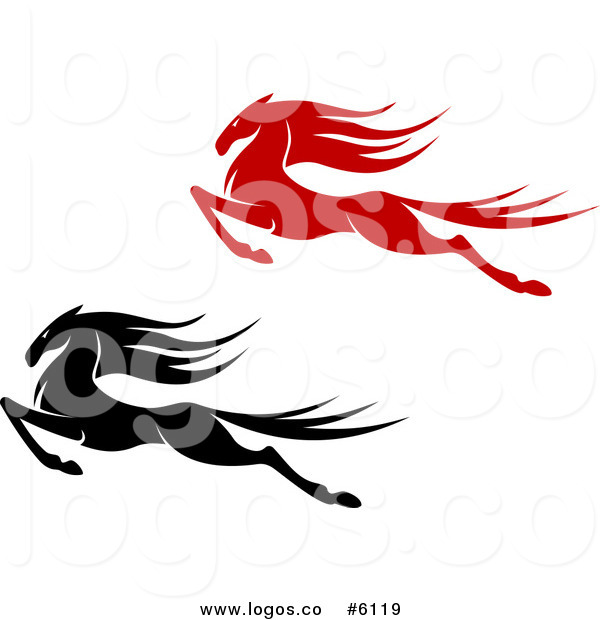 600x620 Royalty Free Clip Art Vector Logos Of Black And Red Leaping Horses