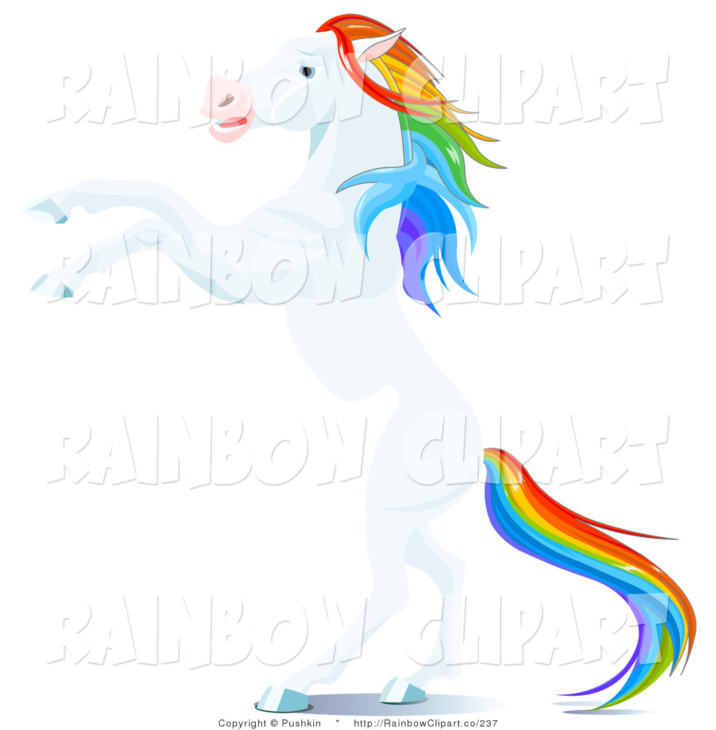 1024x1044 Vector Clip Art Of A White Horse With A Rainbow Colored Mane
