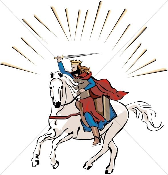 588x612 White Horse Rider In Color Jesus Clipart