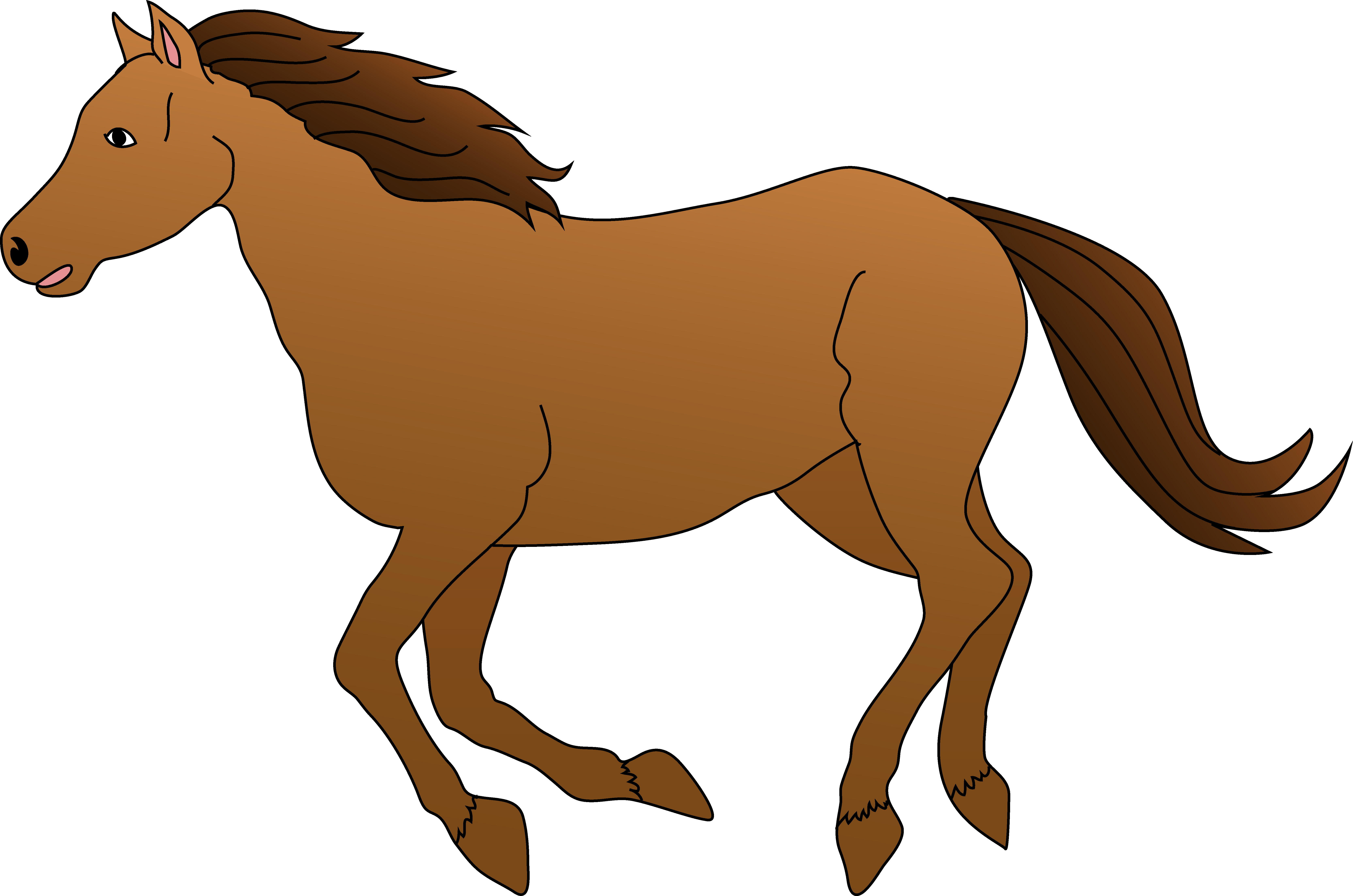 6680x4427 Brown Horse Galloping Clipart