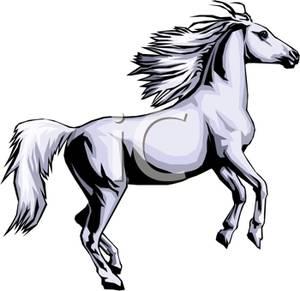 300x291 Clip Art Image A Wild White Horse