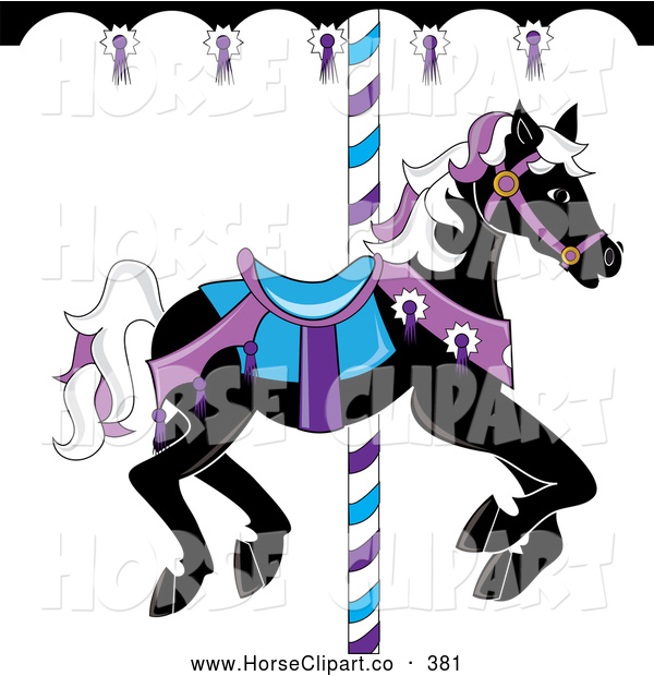 600x620 Clip Art Of A Black Carousel Horse With White And Purple Hair