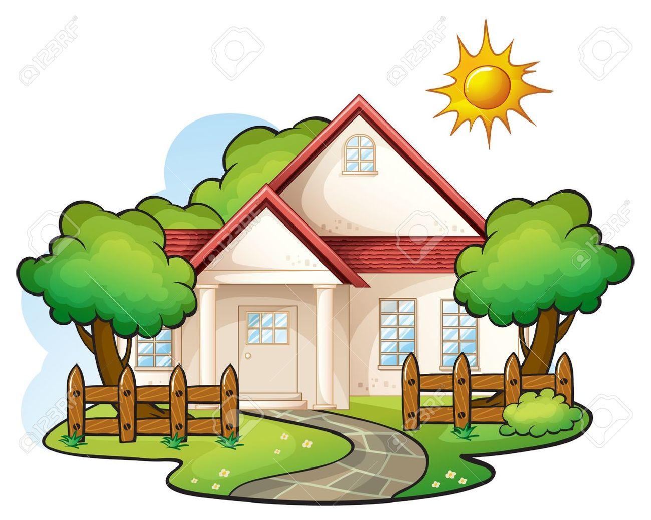 1300x1039 Quaint Little House On A Hill Free Clip Art Background Clipart