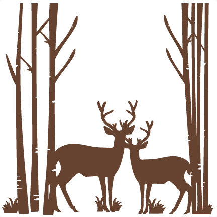 432x432 Birch Trees With Deer Svg Scrapbook Cut File Cute Clipart Files