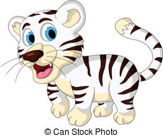 230x194 Vector Illustration Of Cute Baby White Tiger Posing