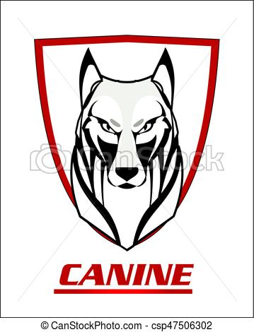 359x470 White Wolf And Shield.eps. Black And White Wolf On The Vector