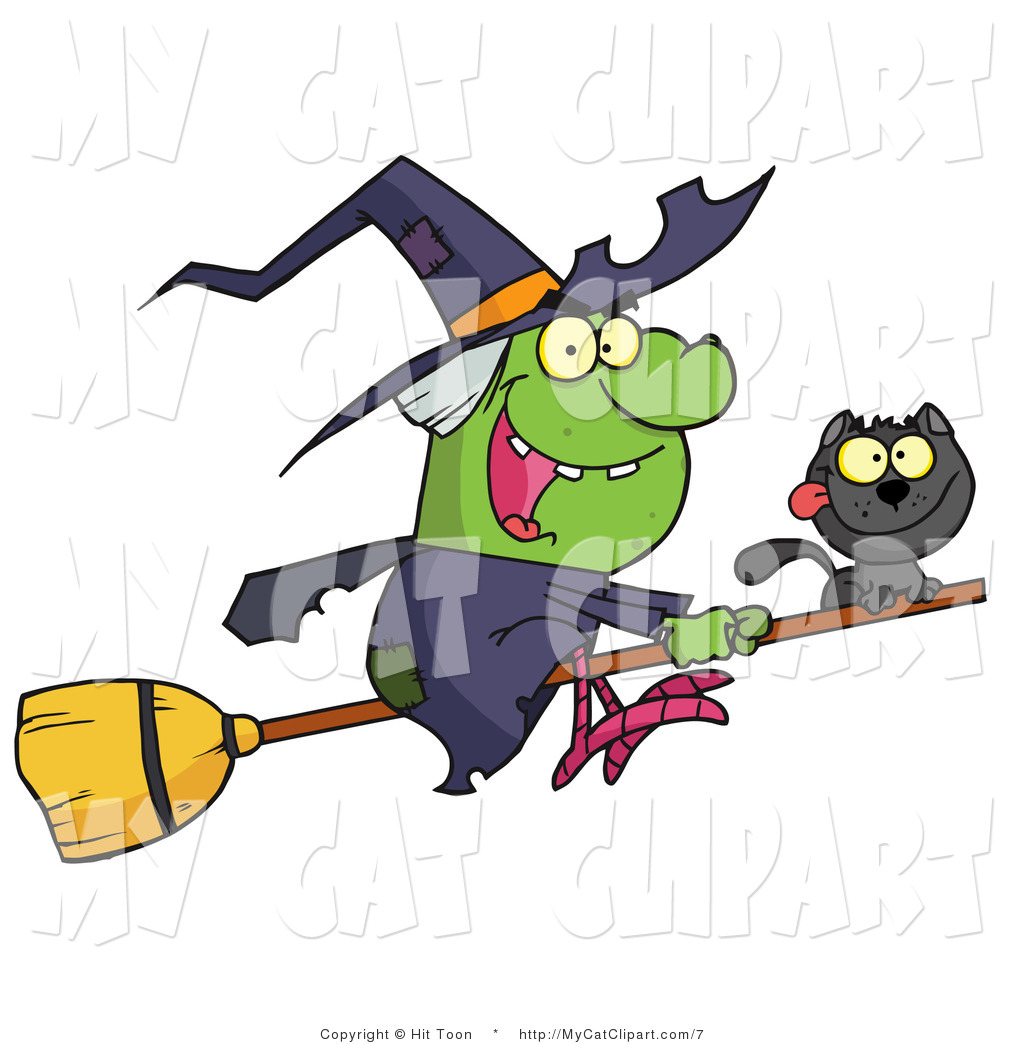 1024x1044 Vector Clip Art Of A Wicked Halloween Witch And Her Cat Flying