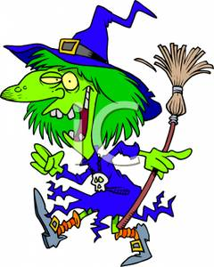 240x300 Cartoon Of Woman Dresseds Wicked Witch, Holding