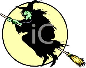 300x239 Cartoon Of A Green Ugly Wicked Witch Riding On Her Magic