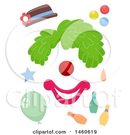 450x470 Clipart Of Funny Face Clown Elements Consisting Of A Hat, Wig