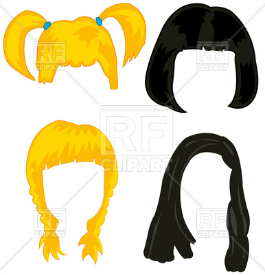 386x400 Feminine Wigs On White Background Is Insulated Royalty Free Vector