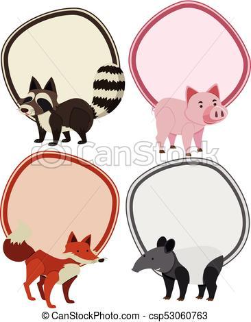 366x470 Four Border Templates With Wild Animals Illustration Clip Art