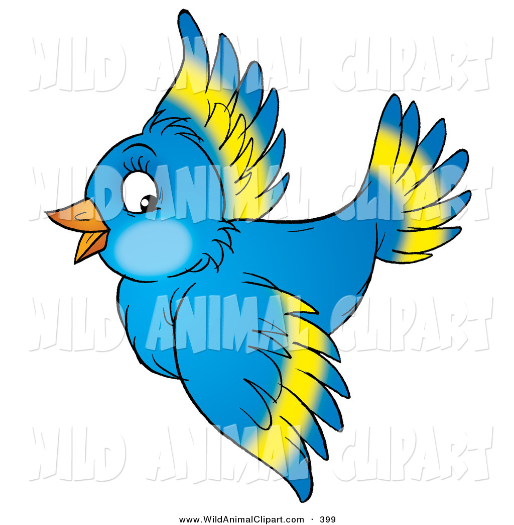 1024x1044 Clip Art Of A Happy Beautiful Blue Bird With Yellow Markings