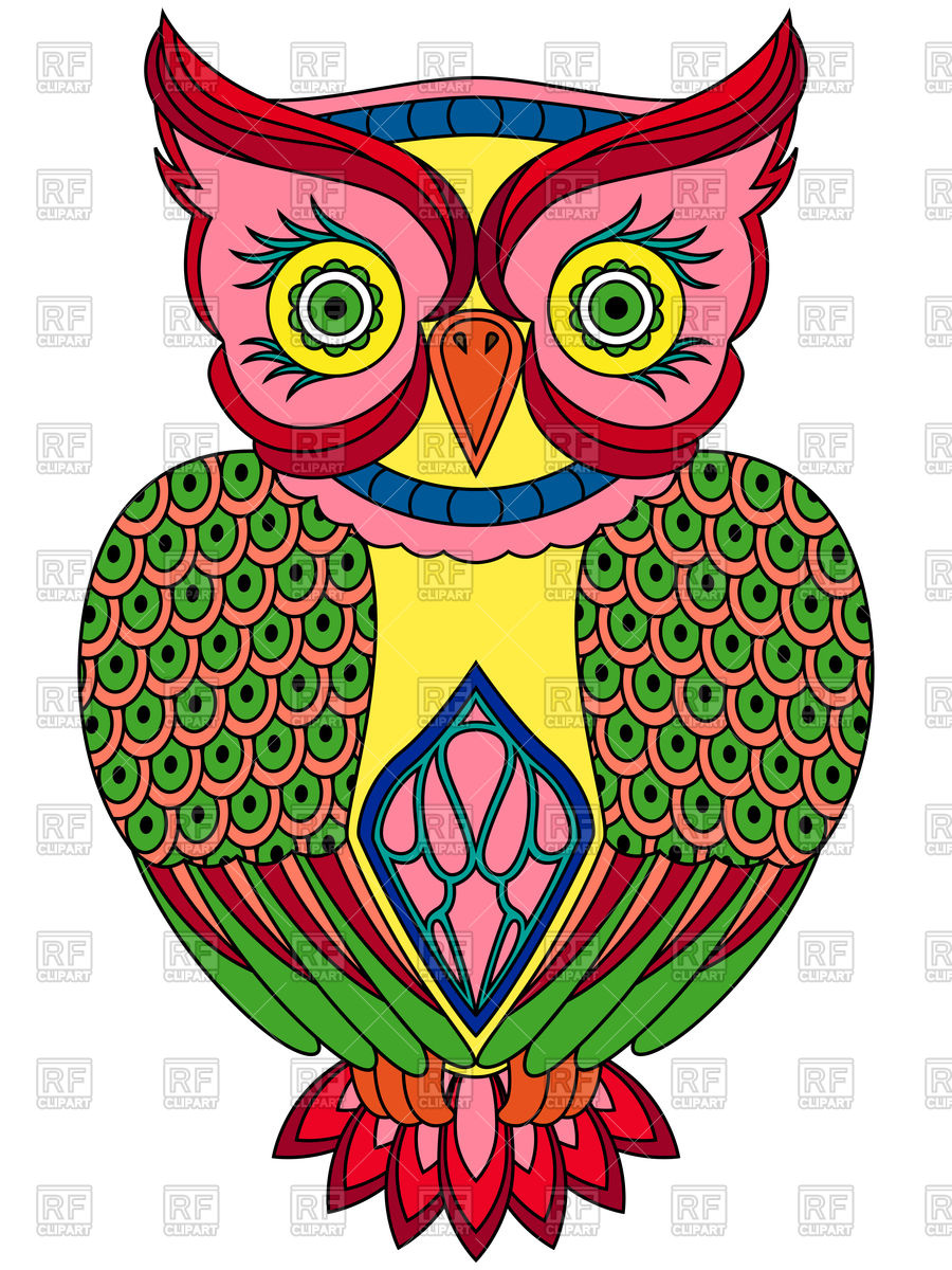 900x1200 Colourful Ornamental Owl Royalty Free Vector Clip Art Image