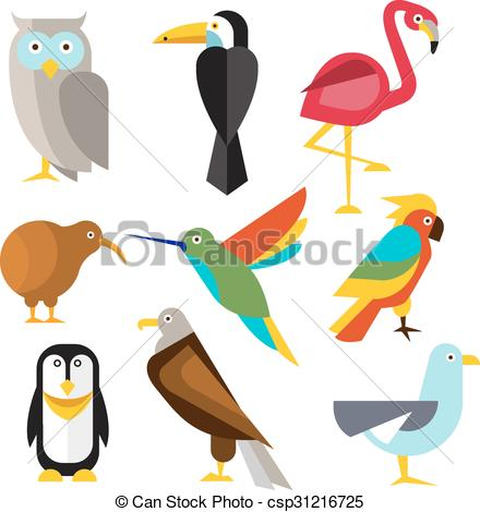 440x470 Set Of Wild Arctic, Forest And Tropical Birds In Flat Style