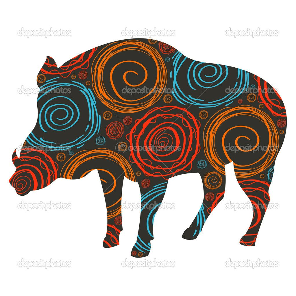 1024x1024 Wild Boar Vector Background For Christmas Or Thanks Giving Day