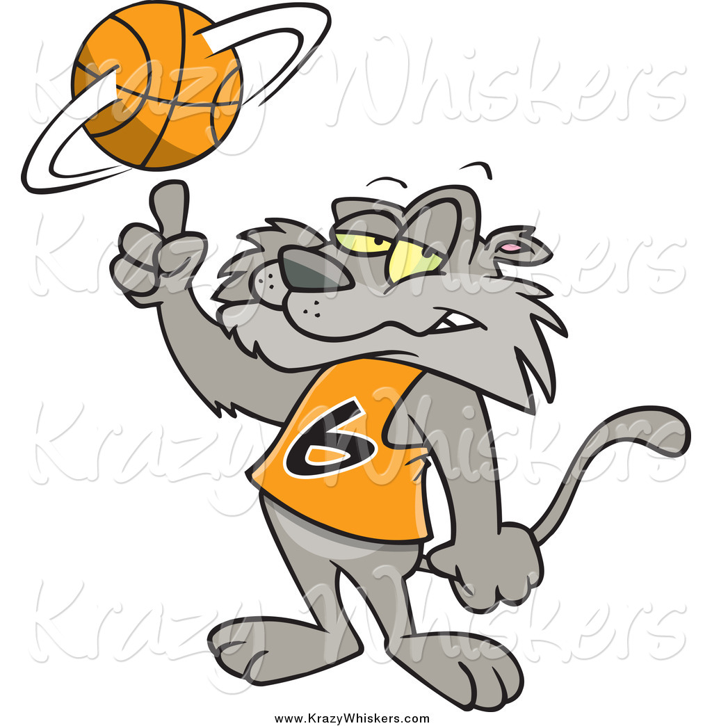 1024x1044 Critter Clipart Of A Cartoon Cat Spinning A Basketball By Toonaday