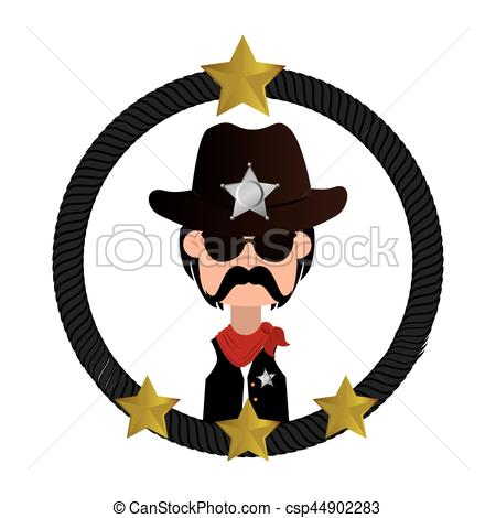 450x470 Cowboy Character Wild West Icon Vector Illustration Design Vector