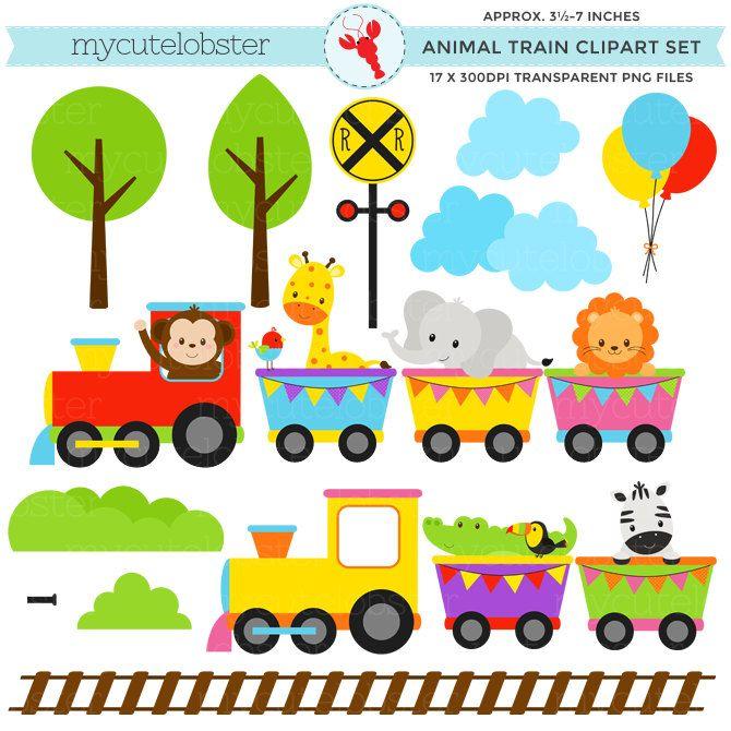 670x670 Animal Train Clipart Set
