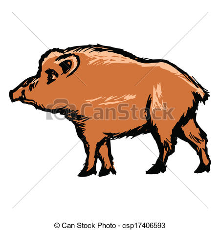 450x470 Hand Drawn, Cartoon, Sketch Illustration Of Wild Boar Eps Vectors
