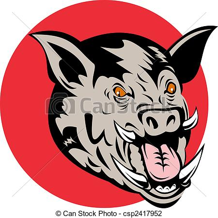 450x450 Illustration Of A Wild Pig's Head Front On, Set Against Red