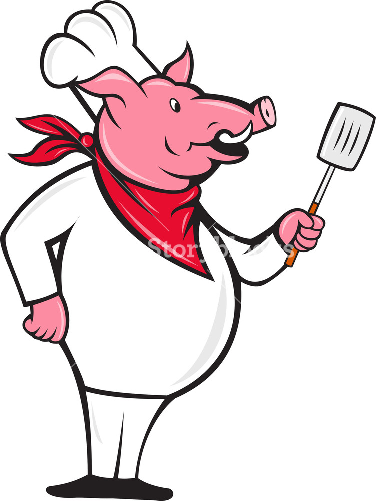 751x1000 Wild Pig Hog Chef With Spatula Cartoon Royalty Free Stock Image