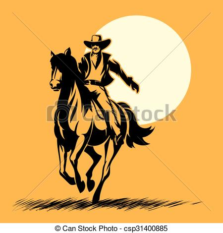 450x470 Wild West Hero, Cowboy Silhouette Riding Horse