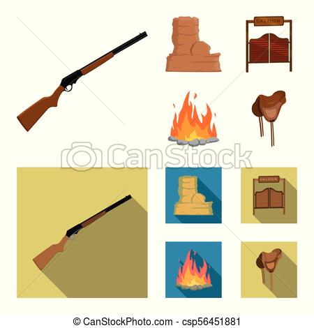450x470 Winchester, Saloon, Rock, Fire.wild West Set Collection Vector